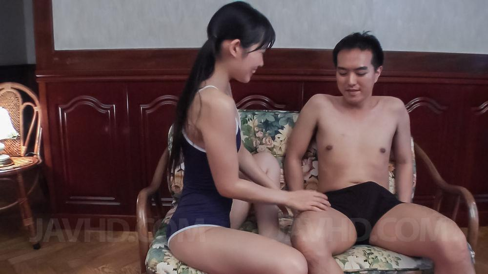 18709: 18709. Yui Kasugano Asian gets cumshot on bath suit and tongue after blowjob