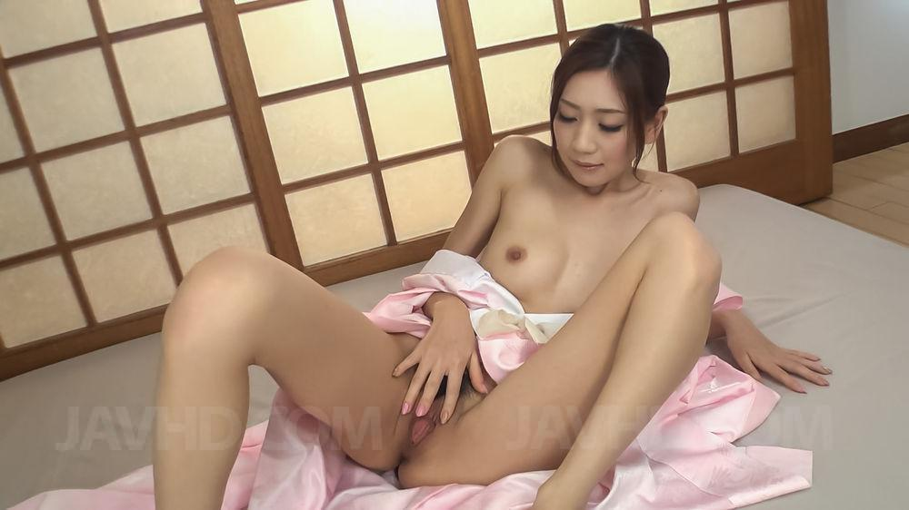 18719: 18719. Kaori Maeda Asian sticks dildo in cunt and sucks two dongs