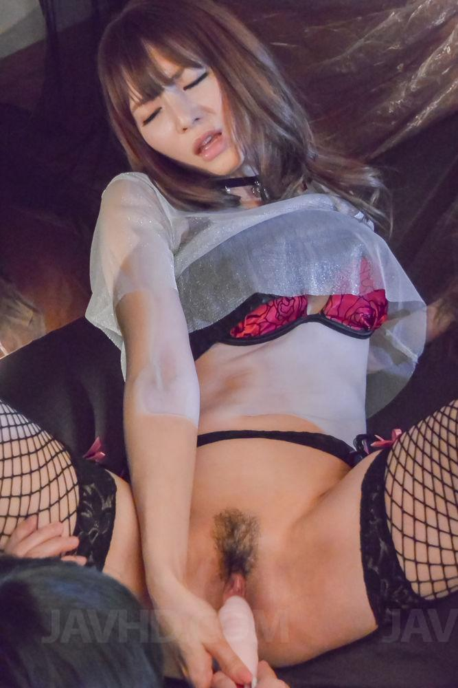 19034: 19034. Miku Ohashi Asian in fishnets gets cumshot on mouth after threesome